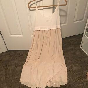 White and cream silk dress